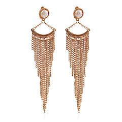 ファッション ビンテージ 欧風 タッセル 真珠 銀メッキ ゴールドメッキ 合金 円形 幾何学形 ゴールド ブラック シルバー ジュエリー のために パーティー 1ペア