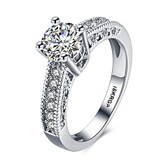 billige Motering-Dame Band Ring / Statement Ring - Sølv, Zirkonium, Kubisk Zirkonium Hjerte, Kjærlighed Personalisert, Mote 6 / 7 / 8 Hvit Til Bryllup / Fest / jubileum