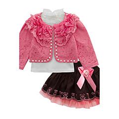 billige Tøjsæt til piger-Baby Pige Fest Trykt mønster Langærmet Bomuld / Polyester Tøjsæt Gul