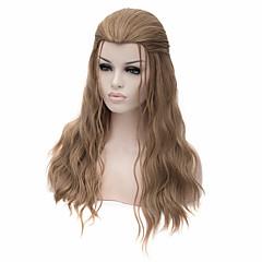 ieftine Perucă Costum-Peruci Sintetice / Peruci de Costum Drept Păr Sintetic Maro Perucă Pentru femei Mediu / Lung