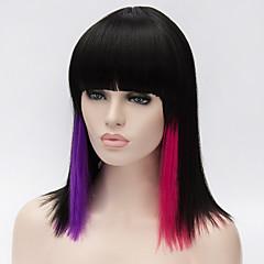 billiga Peruker och hårförlängning-Syntetiska peruker Dam Rak / Yaki Röd Asymmetrisk frisyr Syntetiskt hår Naturlig hårlinje Röd / Svart Peruk Mellanlängd Utan lock Svart / Röd