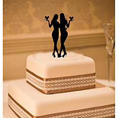 cheap Cake Toppers-Cake Topper Classic Theme Same Sex Acrylic Wedding with Flowers 1 Gift Box