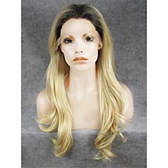 billiga Perukfest-Syntetiska snörning framifrån Naturligt vågigt Blond Syntetiskt hår Mörka hårrötter / Naturlig hårlinje Blond Peruk Dam Spetsfront Blekt Blont