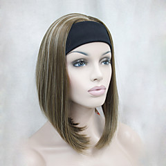 cheap Wigs & Hair Pieces-new fashion golden brown with blonde highlights 3 4 wig with headband women s short straight synthetic half wig