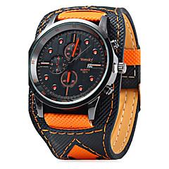 Herrn Armbanduhr Quartz Kalender / Leder Band Freizeit Cool Schwarz Orange