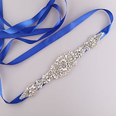 cheap Party Sashes-Satin Wedding Party / Evening Dailywear Sash With Rhinestone Beading Women's Sashes