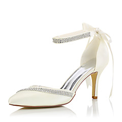 olcso -Hegyes orrú-Stiletto-Női cipő-Magassarkúak-Esküvői / Ruha / Party és Estélyi-Selyem-Bézs