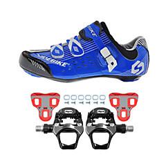 billige Sykkelsko-SIDEBIKE Voksne Sykkelsko med pedal og tåjern / Veisykkelsko Karbonfiber Demping Sykling Blå Herre