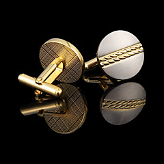 Gold Plated Round Cufflinks Men's Jewelry Cufflink Groomsman Gifts Golden Cuff Buttons With Gift Box