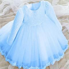 お買い得  女児 ドレス-女の子の 日常 ソリッド コットン ドレス 春 秋 長袖 パール フクシャ レッド ブルー ピンク ライトブルー