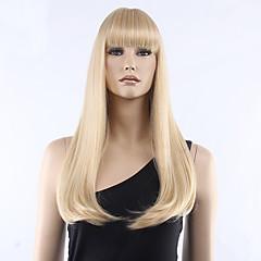 billiga Perukfest-Syntetiska peruker Rak Med lugg Syntetiskt hår Blond Peruk Dam Mellan Naturlig peruk / Halloween Paryk / Karneval peruk Utan lock