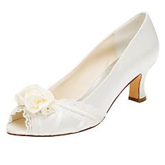 Women's Heels Spring / Fall  Stretch Satin Wedding / Party & Evening / Dress Chunky Heel Crystal / Satin Flower Ivory