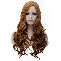 cheap Wigs & Hair Pieces-Synthetic Wig Women's Curly / Deep Wave Dark Brown Asymmetrical Synthetic Hair Natural Hairline Dark Brown Wig Long Capless Strawberry Blonde / Medium Auburn