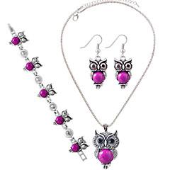 baratos Conjuntos de Bijuteria-Mulheres Turquesa Conjunto de jóias - Prata de Lei Incluir Vermelho / Azul / Rosa claro Para Festa / Diário / Casual