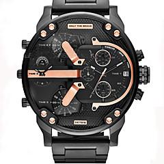 Homens Relógio de Moda Relógio de Pulso Relógio Militar Relógio Elegante Quartzo Calendário Punk Dois Fusos Horários Couro Banda Luxo