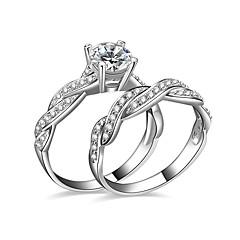 女性用 カップルリング 婚約指輪 キュービックジルコニア 幸福 コスチュームジュエリー 銀メッキ ジュエリー ジュエリー 用途 結婚式 パーティー 婚約 日常 カジュアル