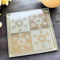 Christmas Day Snowflakes Glass Coasters 2pcs/box BeterWedding