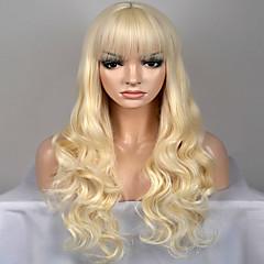 tanie Peruki syntetyczne-Peruki syntetyczne Naturalne fale Blond Włosie synetyczne Blond Peruka Damskie Długie / Bardzo długie Bez czepka Jasny blond