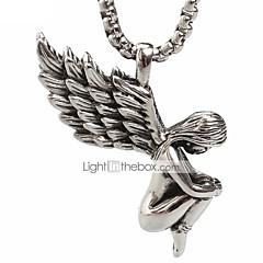 パンクスタイルのペンダントチャームネックレス316Lステンレス鋼レトロ天使の羽の形状の男性と女性のジュエリー