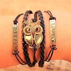 voordelige -Armbanden met ketting en sluiting / Wikkelarmbanden / Vintage Armbanden - Leder Uil Inspirerend Armbanden Voor Kerstcadeaus / Feest / Dagelijks / Lederen armbanden