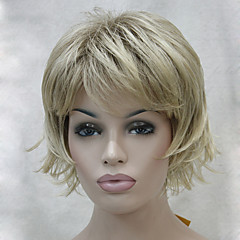billiga Peruker och hårförlängning-Syntetiska peruker Vågigt Frisyr i lager / Med lugg Syntetiskt hår Peruk Dam Utan lock 130A