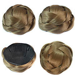 cheap Wigs & Hair Pieces-wedding bridal updo chignon bun clips braids synthetic straight hair extensions multi colors