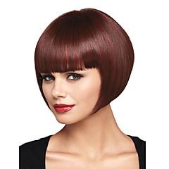 billiga Peruker och hårförlängning-Syntetiska peruker Rak / Yaki Bob-frisyr / Med lugg Syntetiskt hår Röd Peruk Dam Utan lock Mörkbrun