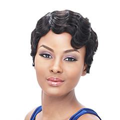 billiga Peruker och hårförlängning-Syntetiska peruker Vågigt / Afro Syntetiskt hår Afro-amerikansk peruk Svart Peruk Dam Korta Naturlig peruk / Halloween Paryk / Karneval