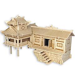 baratos -Quebra-Cabeças de Madeira Arquitetura Chinesa Casa Nível Profissional De madeira 1pcs Crianças Para Meninos Dom