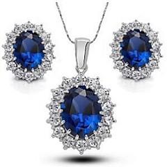 Šperky 1 x náhrdelník 1 x pár náušnic imitace drahokamu Svatební Párty Křišťál Slitina Štras Postříbřené 1Nastavte Dámské ModráSvatební