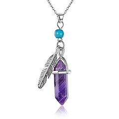 Women's Pendant Necklaces Statement Necklaces Turquoise Synthetic Amethyst Single Strand Leaf Taper Shape Synthetic Gemstones Silver