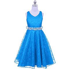 baratos Roupas de Meninas-Menina de Vestido Para Noite Sólido Verão Poliéster Sem Manga Azul Marinho Vermelho Azul Vinho Azul Claro