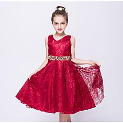 billige Pigekjoler-Børn Pige I-byen-tøj Ensfarvet Uden ærmer Polyester Kjole Blå