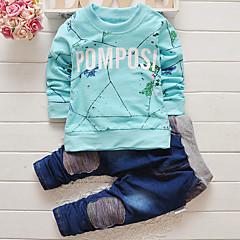 billige Tøjsæt til drenge-Baby Drenge Pænt tøj Trykt mønster Langærmet Jeans