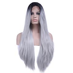 billiga Peruker och hårförlängning-Syntetiska snörning framifrån Rak Syntetiskt hår Värmetåligt / Ombre-hår / Mörka hårrötter Vit Peruk Dam Lång Spetsfront Svart / Vit / Naturlig hårlinje