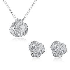 tanie Zestawy biżuterii-Damskie Cyrkonia Posrebrzany Biżuteria Ustaw 1 Naszyjnik 1 parę kolczyków - Silver Na Impreza Codzienny