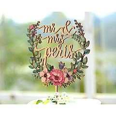 Taarttoppers Gepersonaliseerd Klassiek Koppel Kaart Papier Bruiloft Trouwdag Bruidsshower Geel Tuin Thema Bloemen Thema Vintage Theme 1
