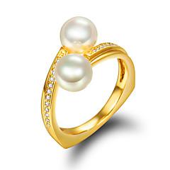 お買い得  ファッションリング-女性 指輪 婚約指輪 真珠 真珠 人造真珠 ゴールドメッキ 18K 金 ジュエリー 結婚式 パーティー 日常 カジュアル