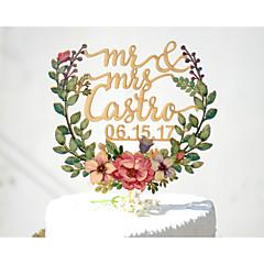 billige Kakedekorasjoner-Kakepynt Personalisert Klassisk Par Kort Papir Bryllup Jubileum Utdrikkingslag Gul Hage Tema Blomster Tema Klassisk Tema Vintage Tema 1