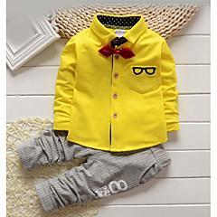 billige Tøjsæt til drenge-Baby Drenge Ensfarvet / Stribet Trykt mønster Langærmet Bomuld Tøjsæt / Basale