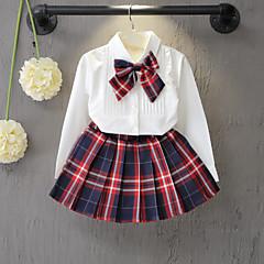 tanie Odzież dla dziewczynek-Brzdąc Dla dziewczynek Aktywny Szkoła Pled Kokarda Długi rękaw Komplet odzieży