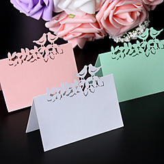 cheap -40pcs/lots Love Birds Laser Cut Wedding Favors Party Supplies Table Name Place Cards Table Wedding Cards