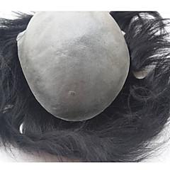 billiga Peruker och hårförlängning-Herr Äkta hår Tupéer Rak Klassisk 100 % handbundet Hög kvalitet Dagligen