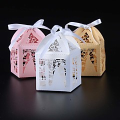Cuboid Pearl Paper Favor Holder With Ribbons Favor Boxes-50 Wedding Favors