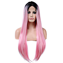 cheap Wigs & Hair Pieces-Synthetic Lace Front Wig Women's Straight Pink Synthetic Hair Natural Hairline Pink Wig Long Lace Front Pink
