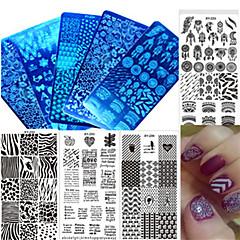 halpa -1kpl uusi värikäs design kynsien leimaamalla kilpi ruostumaton teräs puola DIY muoti leimaamalla levy kynsien työkalu manikyyri kauneus