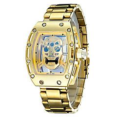 男性用 ファッションウォッチ リストウォッチ スケルトン腕時計 日本産 クォーツ 耐水 夜光計 ステンレス バンド ぜいたく ヴィンテージ スカル クール シルバー ゴールド ローズゴールド