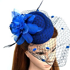 cheap Party Hats-Feather Net Fascinators Flowers Hats Headwear Birdcage Veils Wreaths with Floral 1pc Wedding Special Occasion Headpiece