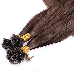Χαμηλού Κόστους Deluxe Hair-Τούφα / Άκρη U Επεκτάσεις ανθρώπινα μαλλιών Ίσιο Εξτένσιον από Ανθρώπινη Τρίχα Φυσικά μαλλιά Γυναικεία - Καστανό