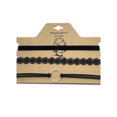 billige Halsbånd-Dame Læder Kort halskæde  -  Hængende Euro-Amerikansk Mode Rund Sort Halskæder Til Forretning Daglig Afslappet